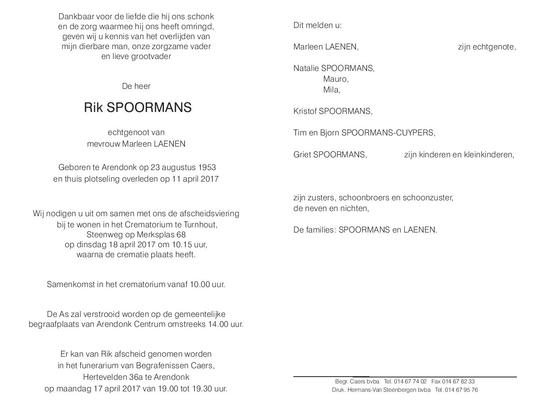 Overlijden Rik Spoormans.